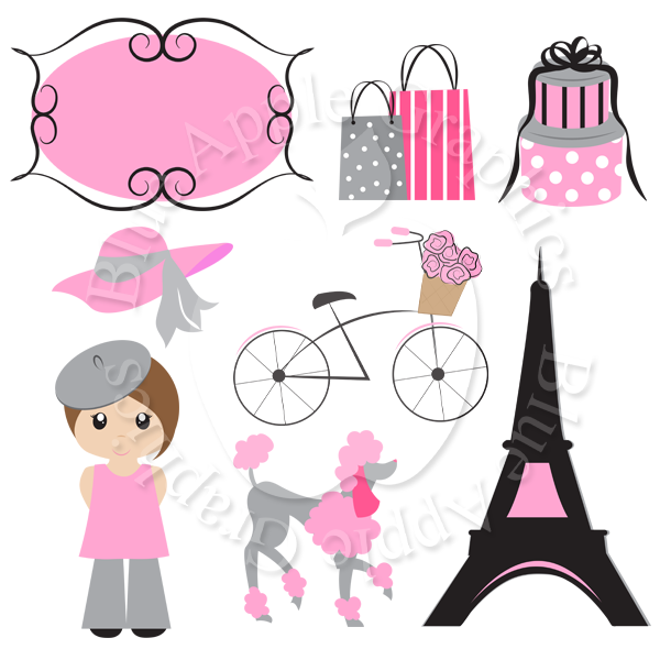 Pretty Pink Paris Clipart Pack.