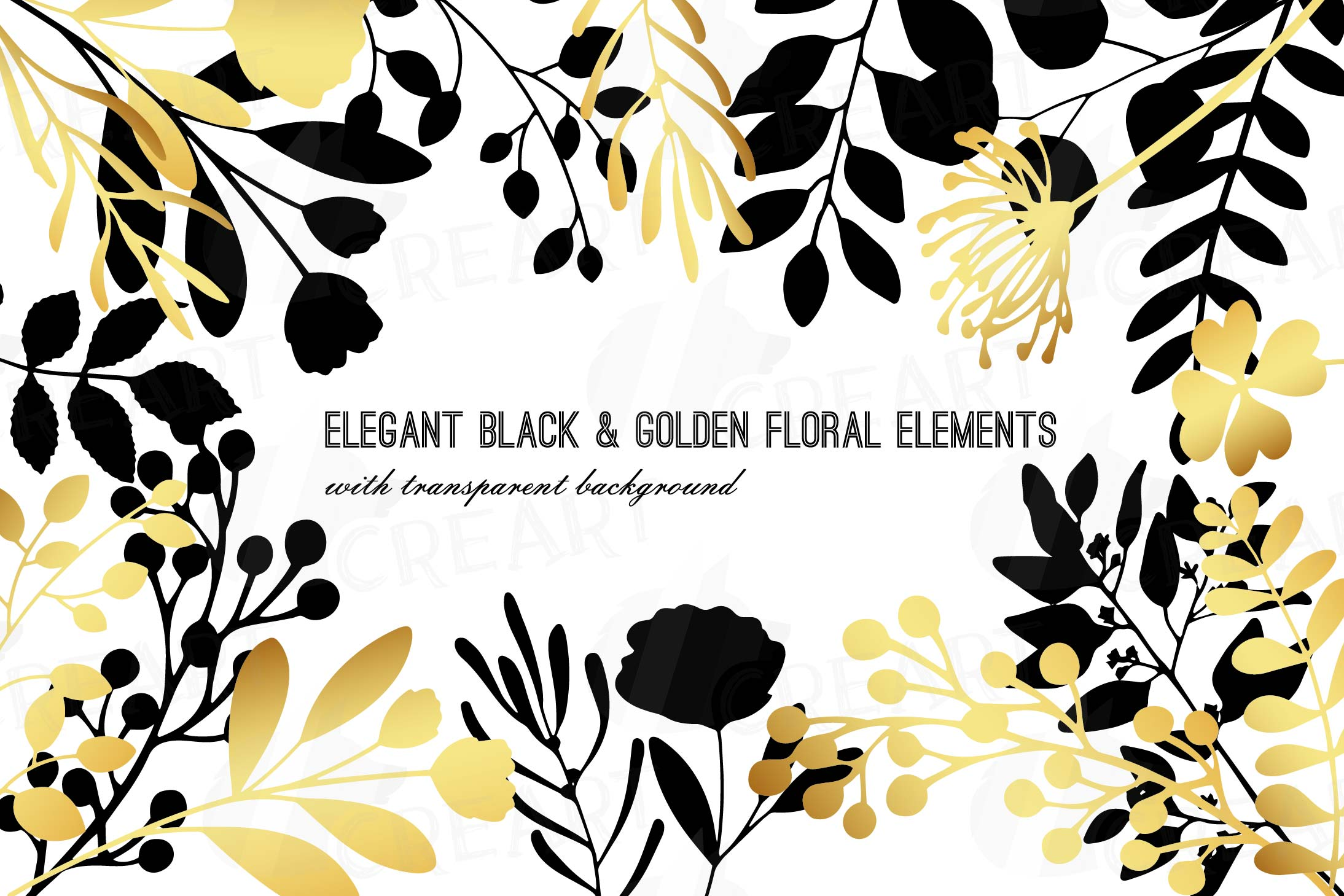 Elegant golden wedding branch and leaf clip art pack, png.
