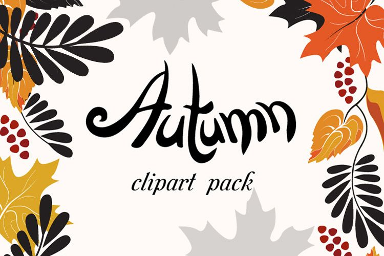 Autumn Clip Art Pack, Fall Vector Frames and Borders.