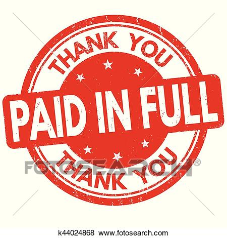 Paid in full and thank you sign or stamp Clip Art.
