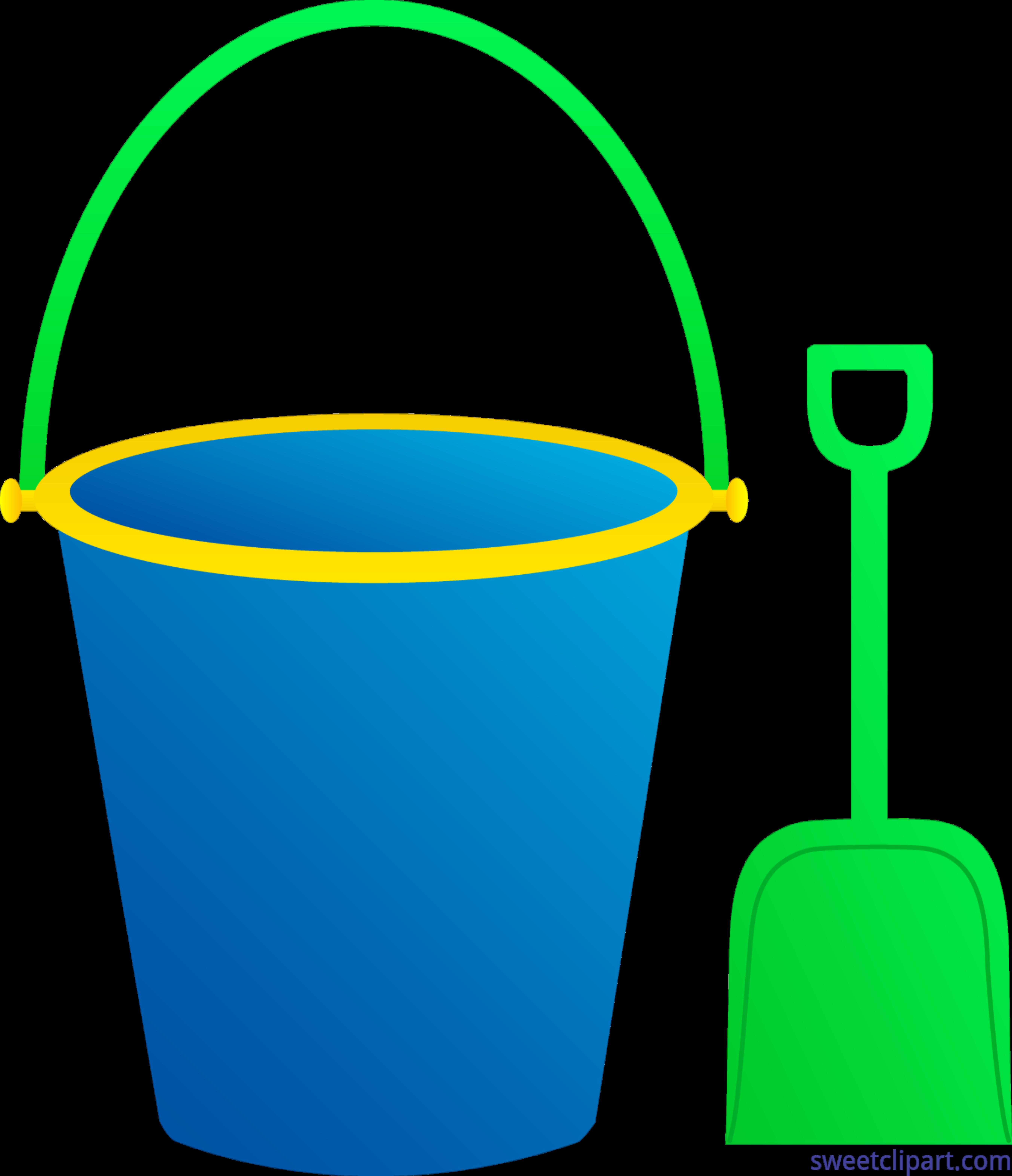 Pail Shovel Blue Green Clip Art.