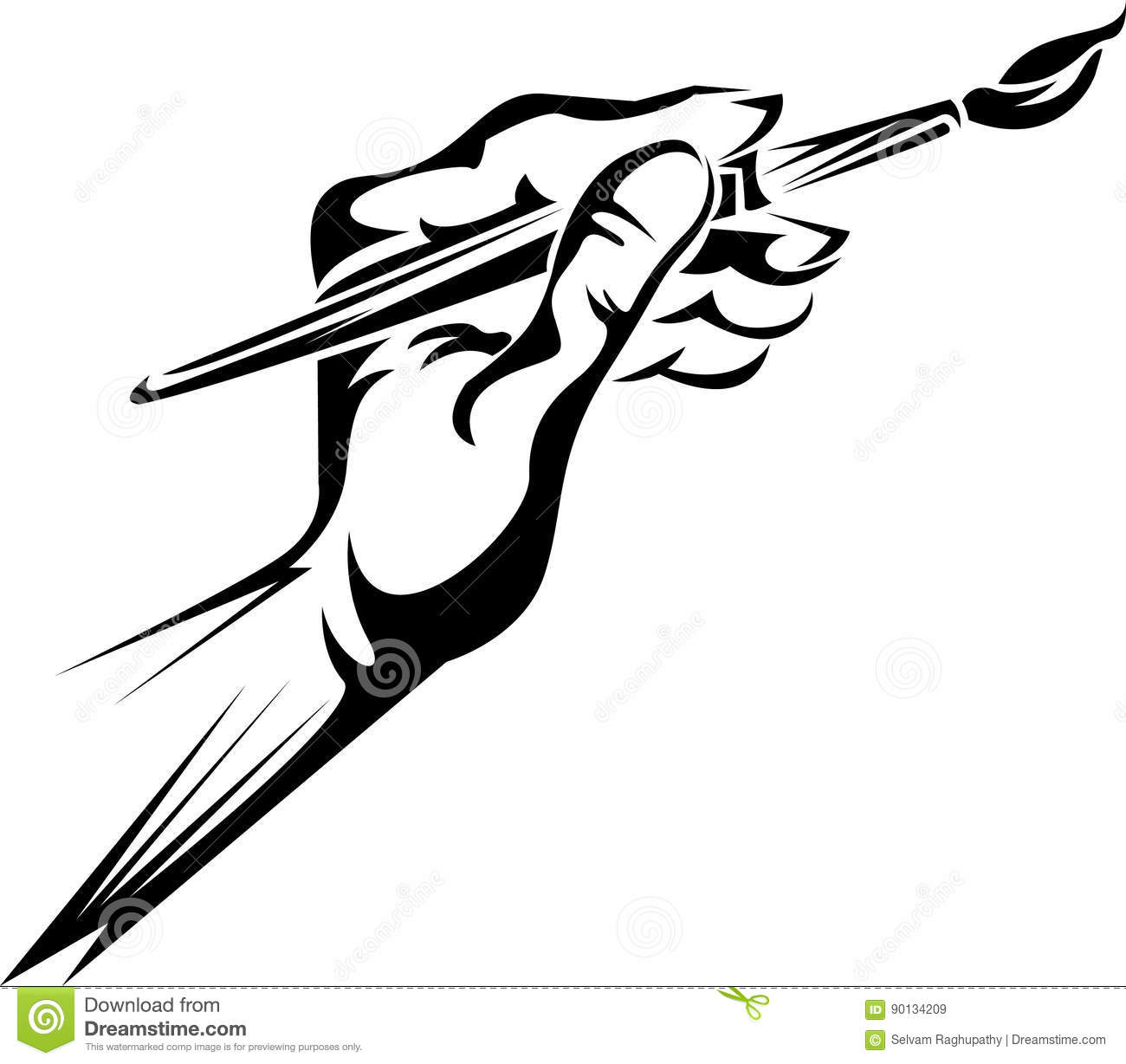 Hand holding a paint brush stock vector. Illustration of.