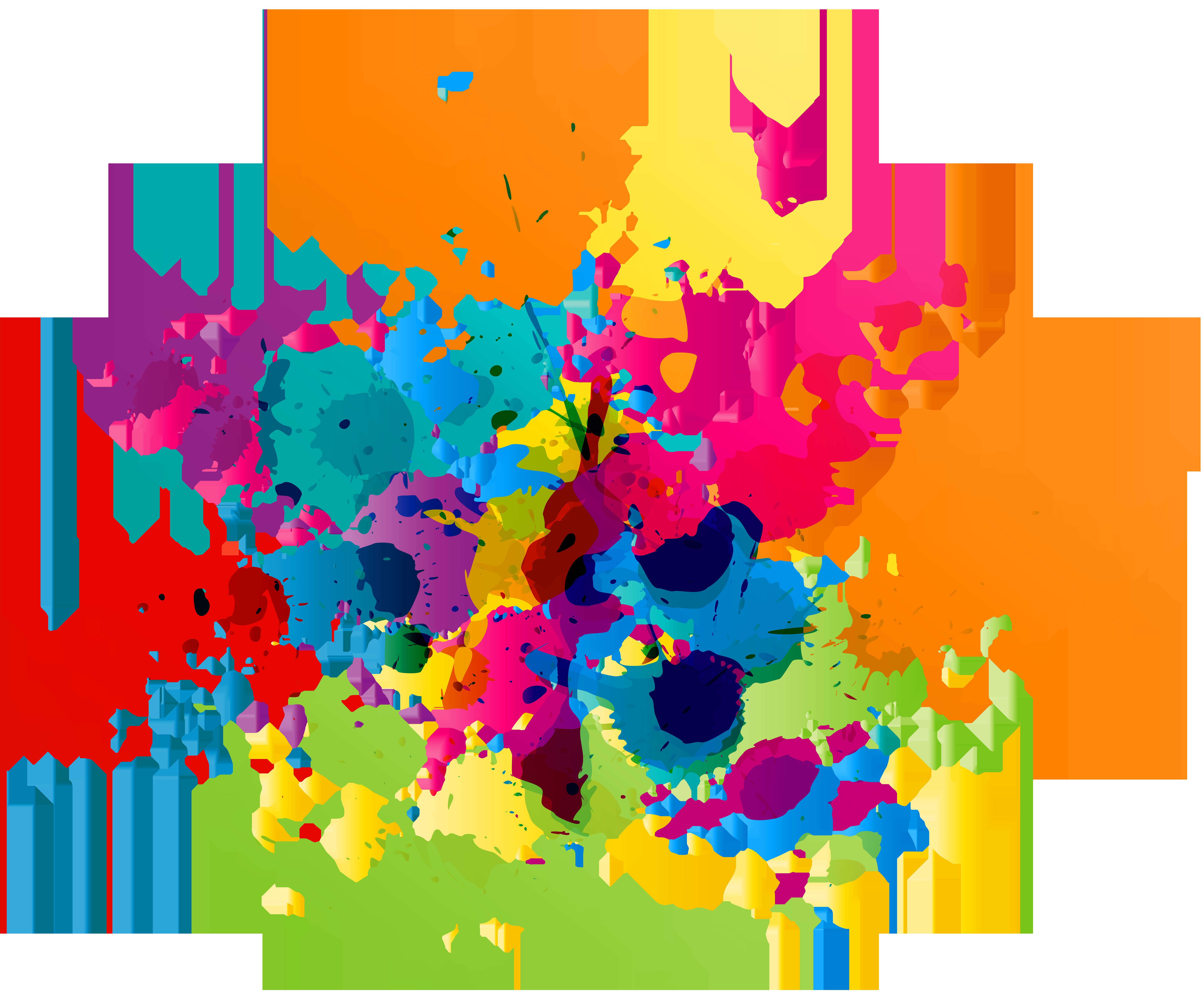 Colorful Paint Splatter Transparent Clip Art Image.