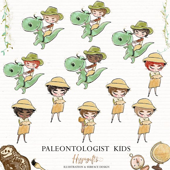 Paleontologist kids clipart,dinosaur.