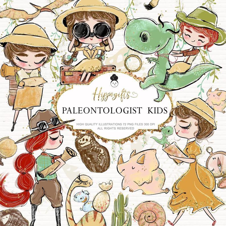 Paleontologist Clipart, safari clipart, dinosaurs clipart,boy scout  clipart, dinosaurs stickers,travel clipart U0026.