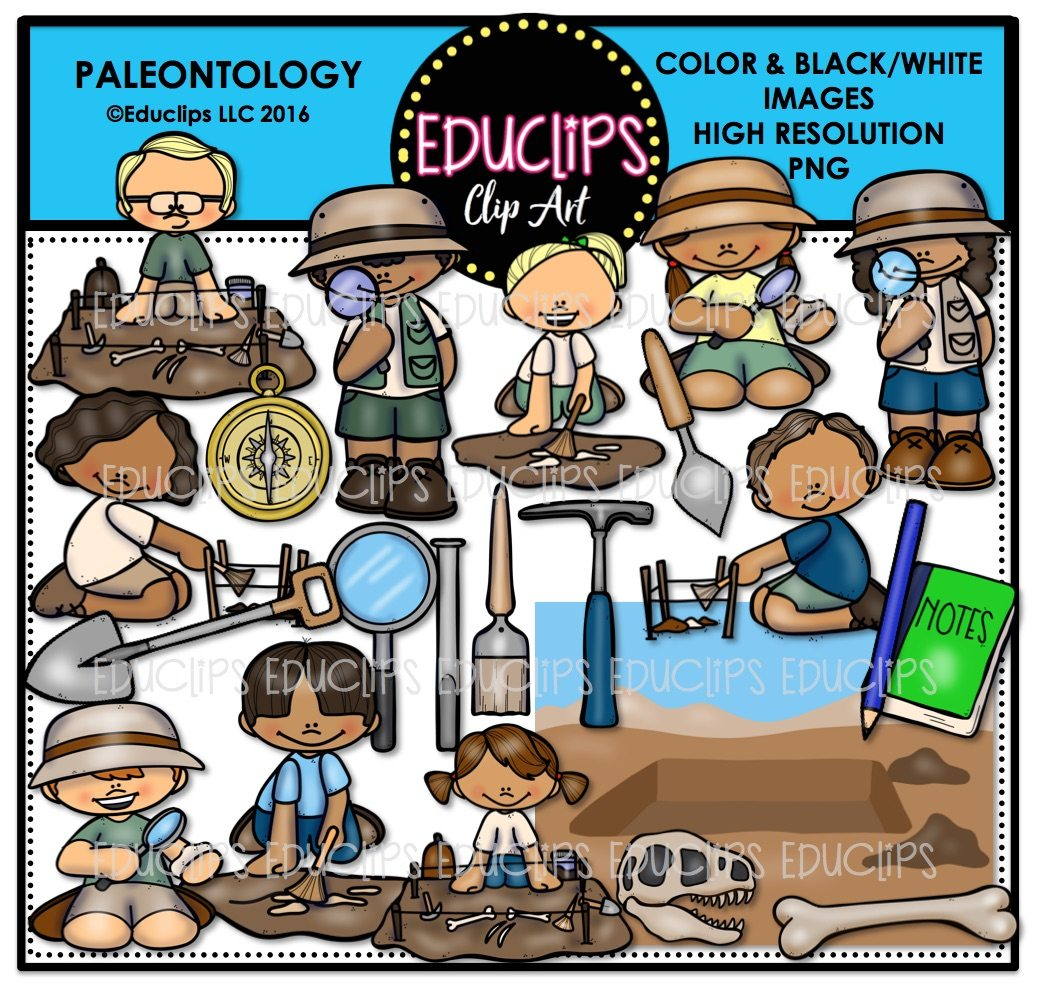 Paleontology Clip Art Bundle (Color and B&W).