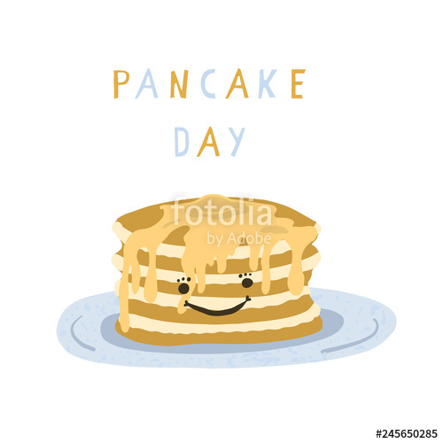 Cute pancake day breakfast vector illustration. Hand drawn stack of.