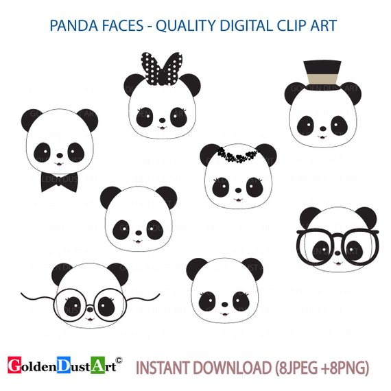 Cute Panda Faces Clip Art, Panda Clip Art, Panda Faces, Kawaii Panda.