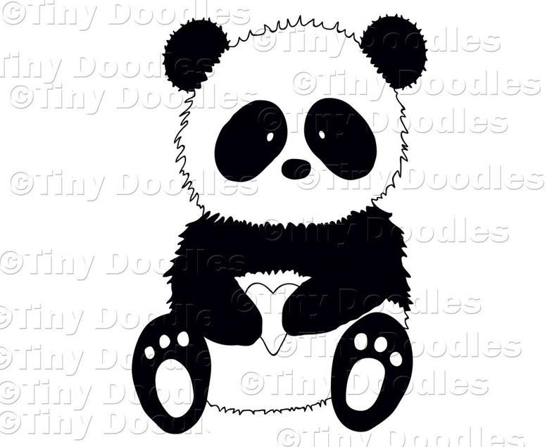 Panda Clipart Panda Digital Stamp Panda Clip Art Commercial.