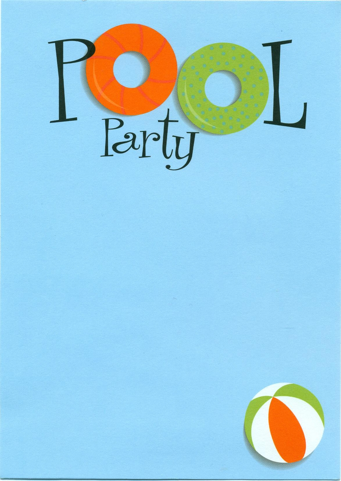 Pool Party Invitations Clip Art free image.
