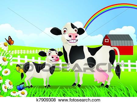 Mother and baby cow in pasture Clip Art.
