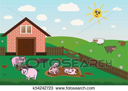 Pigs, sheep on farm, pasture, vector Clipart.