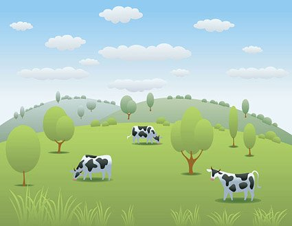 Free Cow Pasture Vector Vector Landscape Countryside Pastures.
