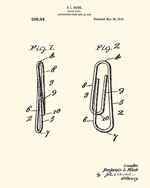 Paper clip art Patent art print Secretary Gift paper clip print office art  patent poster office wall art vintage office gifts office patent.