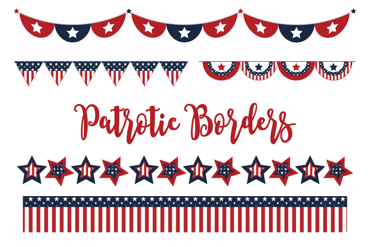 Patriotic Borders Clip Art Set.