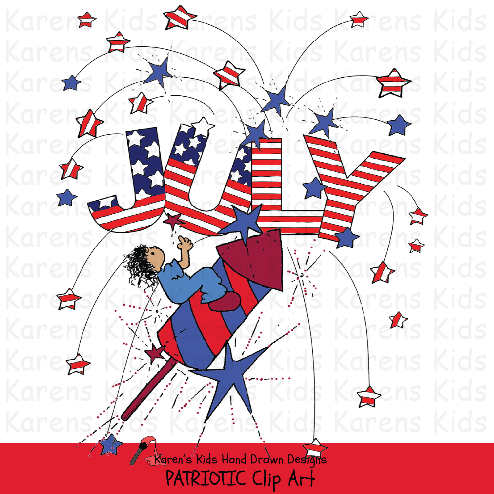 Clip Art Patriotic Kids.