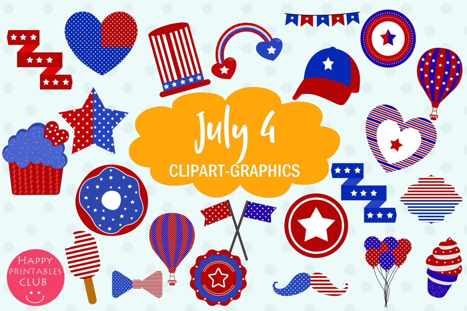 July 4 Patriotic Clipart Graphics Graphic by Happy Printables Club.