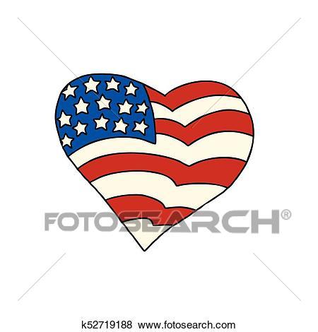 USA heart Patriotic symbol Clip Art.