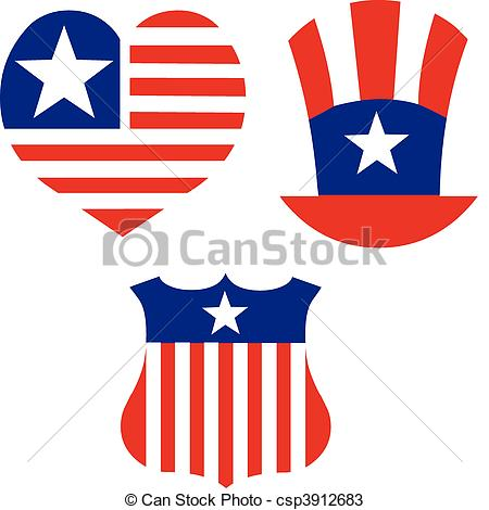 American patriotic symbols set for design and decorate..