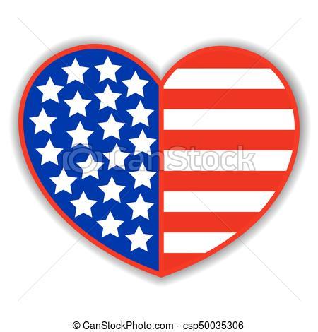 Patriotic heart with American symbols flag.