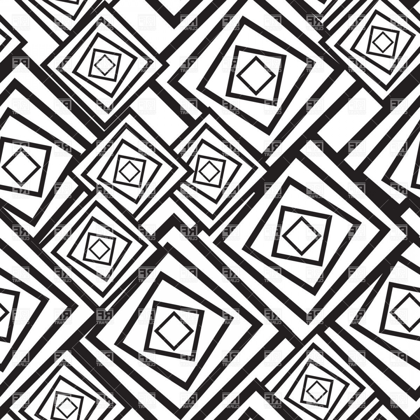 Black And White Abstract Pattern With Squares Vector Clipart.