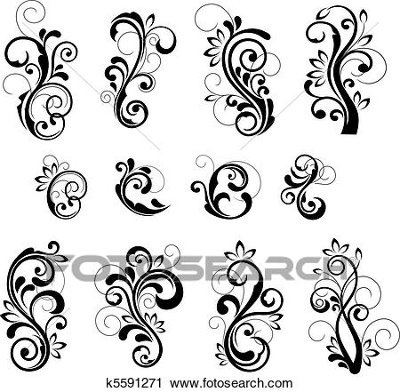 Floral patterns Clipart.