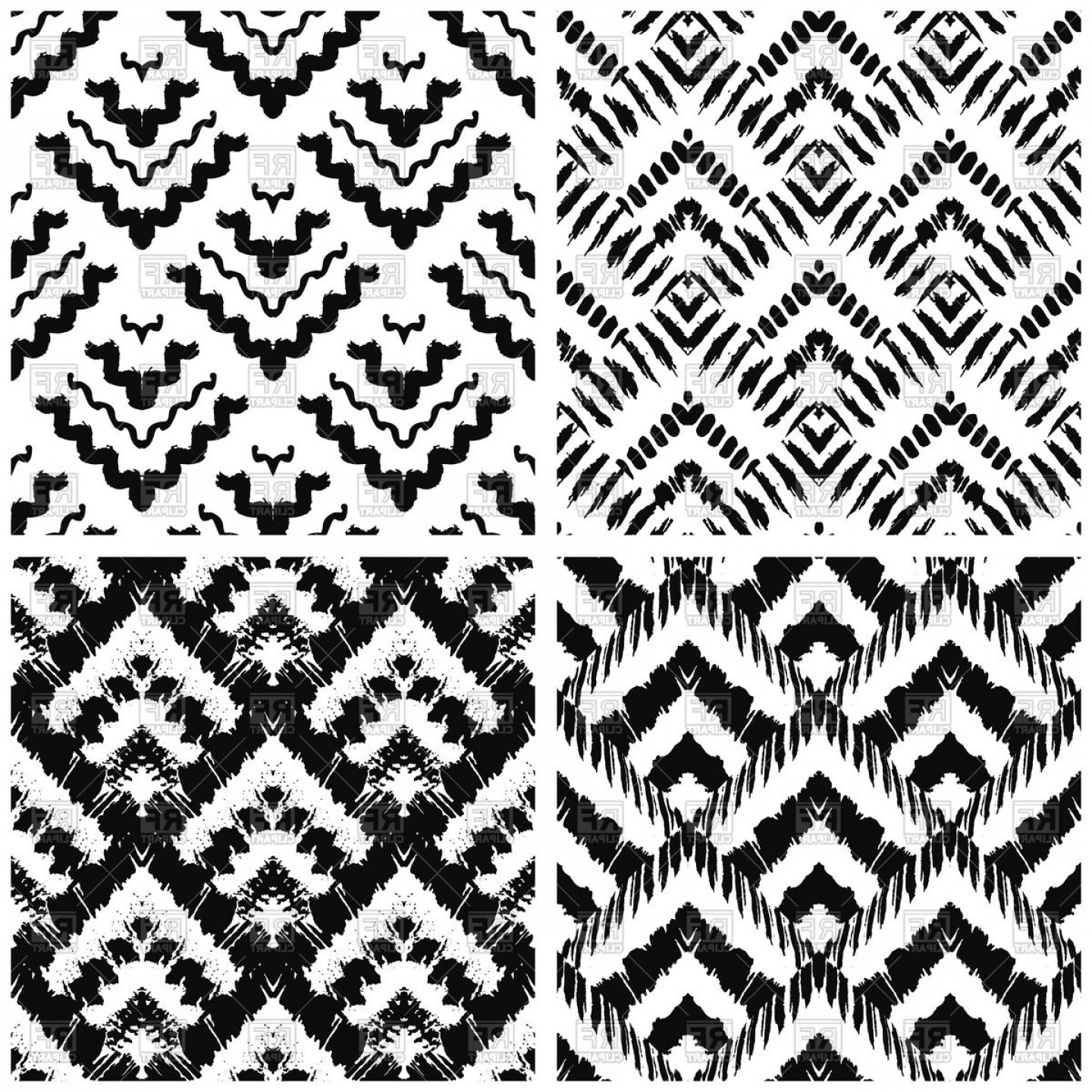 Hand Drawn Art Deco Painted Seamless Patterns Vector Clipart.