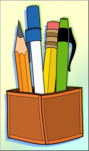 Clip Art: Pen & Pencil Holder Color 1 I abcteach.com.