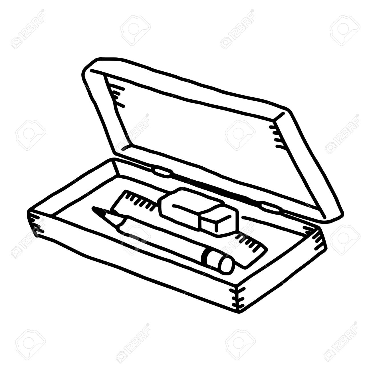 vector illustration hand drawn sketch of pencil box isolated...