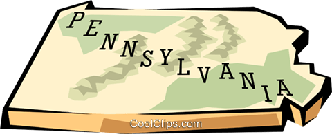 Pennsylvania state map Royalty Free Vector Clip Art illustration.
