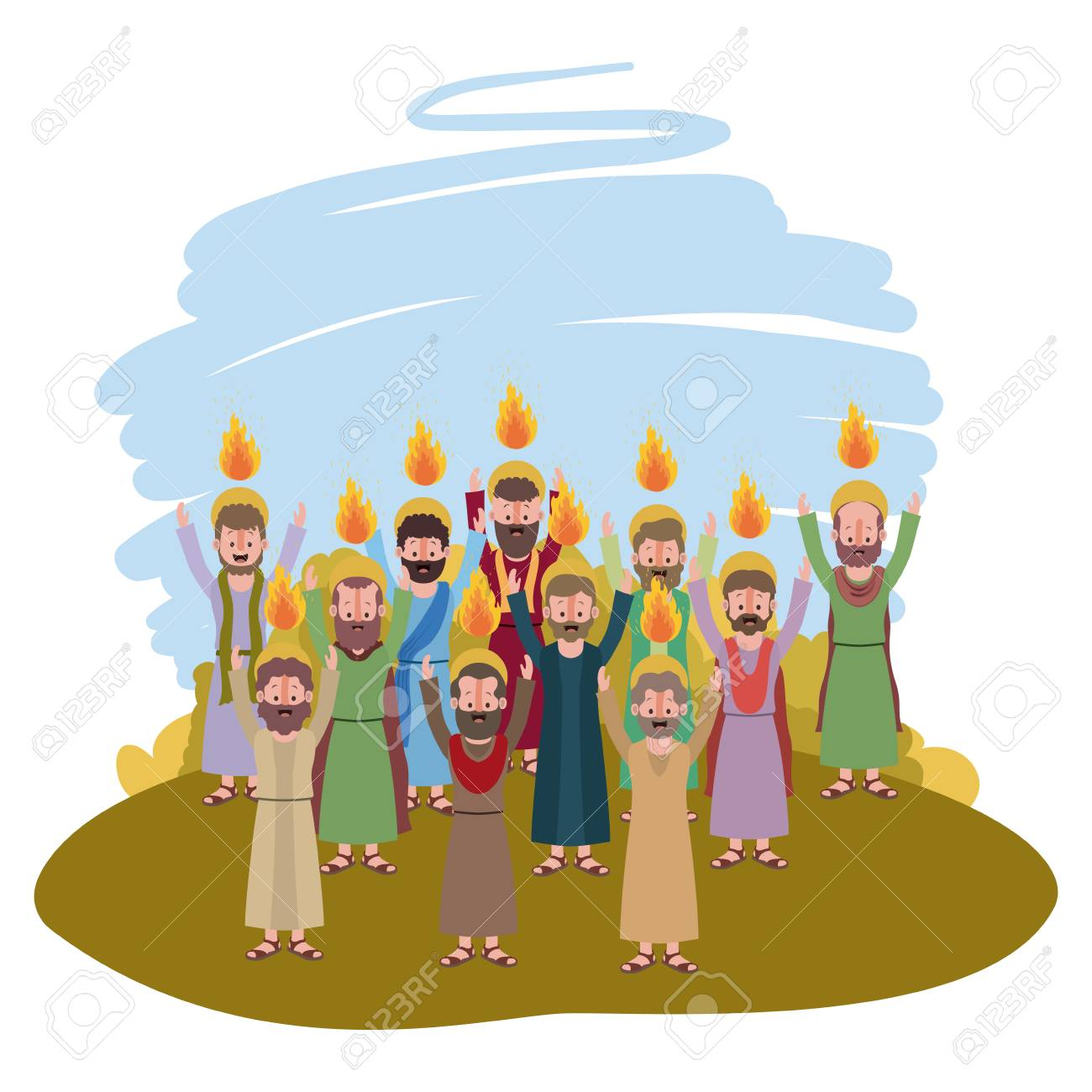 Apostles group Pentecost in the camp vector illustration design..