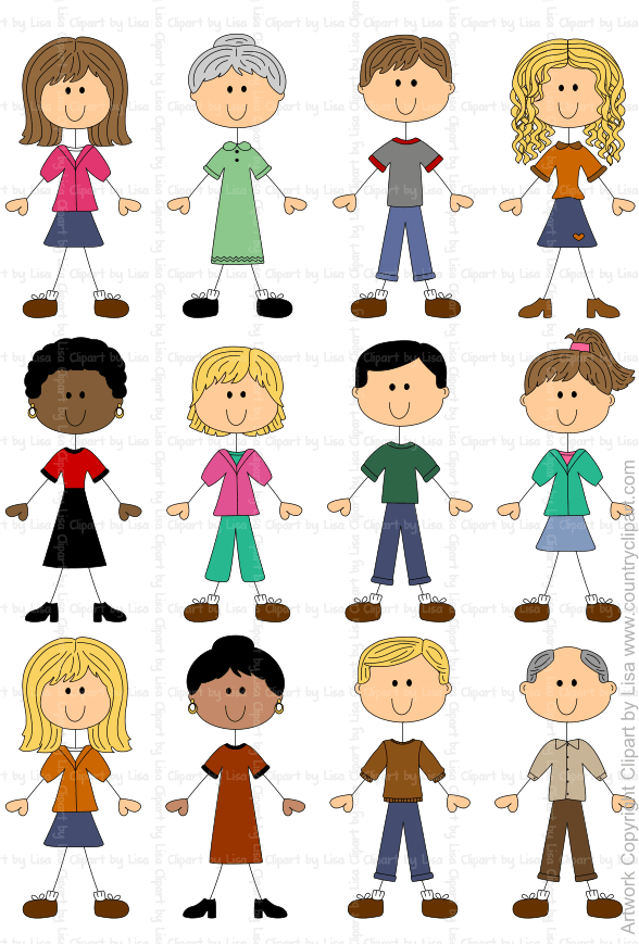 Stick Figures and Faces Family Graphics.