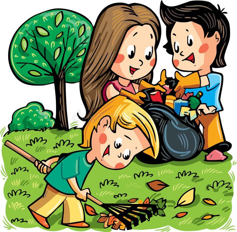Cleaning Garden Stock Illustrations.