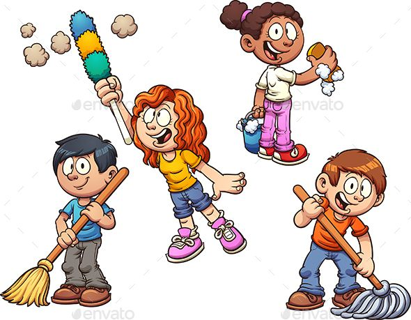 Cartoon kids cleaning up. Vector clip art illustration with simple.