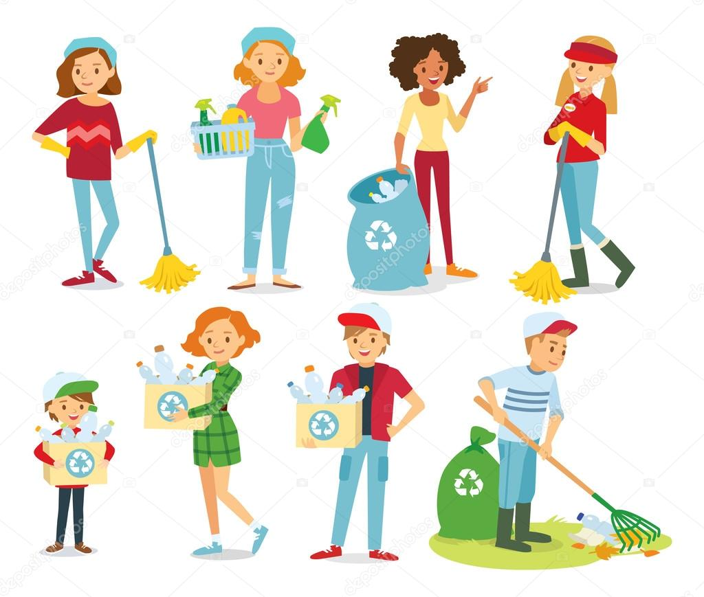 Set of people cleaning — Stock Vector © olga1818 #110340430.