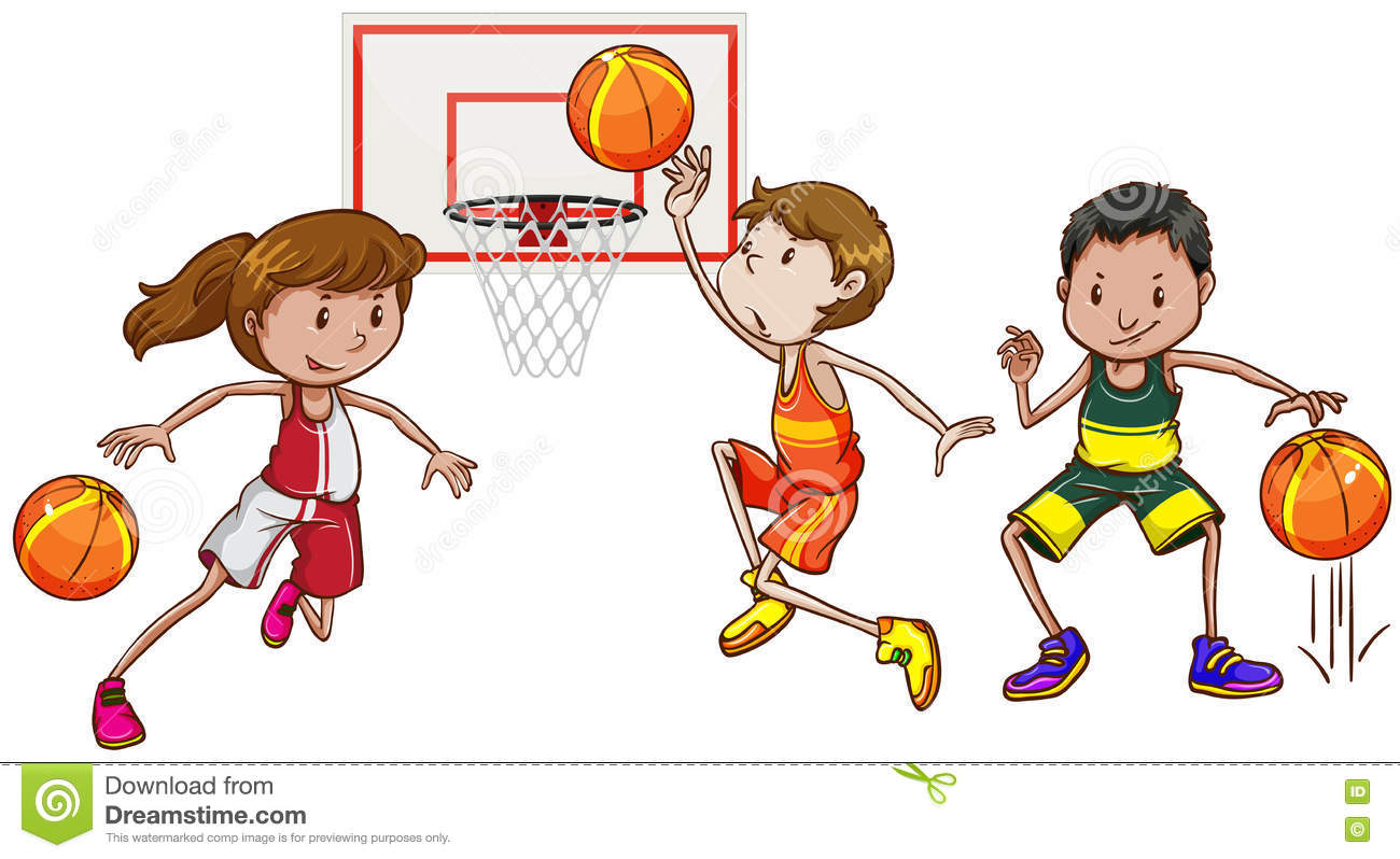 Three People Playing Basketball Stock Vector.