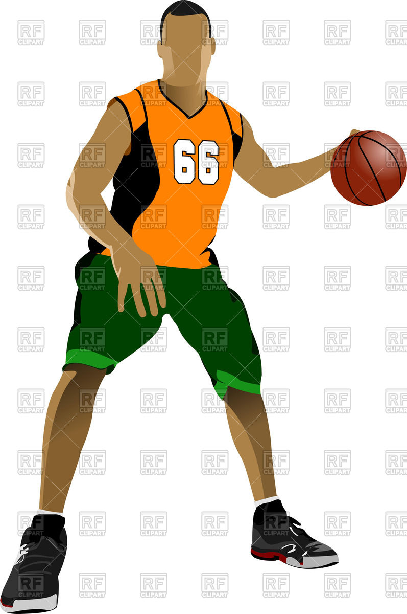 Basketball player dribbling Stock Vector Image.