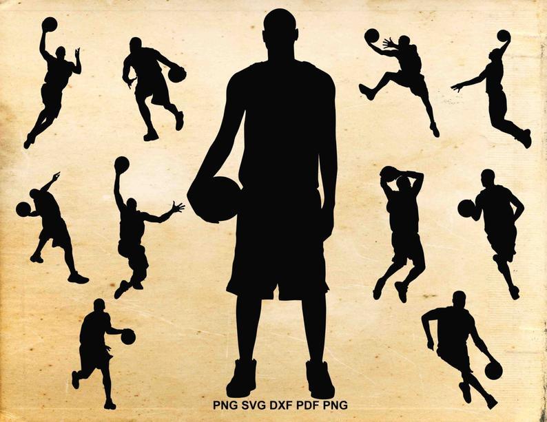Basketball svg files, Basketball player silhouette, Basketball clipart,  Sports clip art, Svg files for Silhouette, Cut files for Cricut.