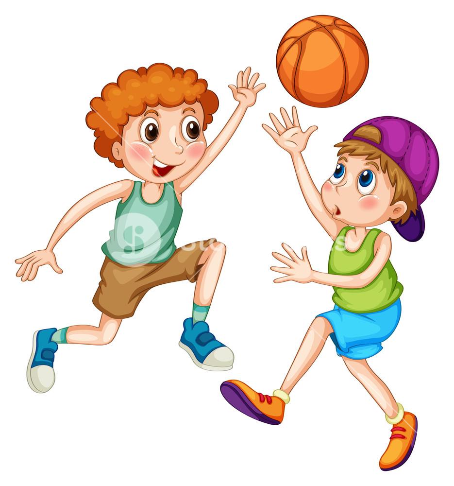 Two boys playing basketball illustration Royalty.