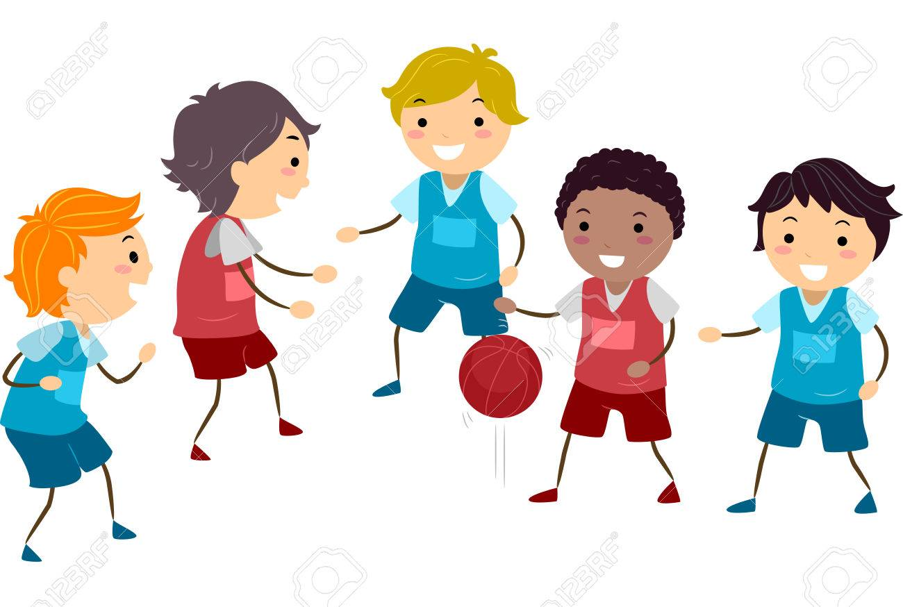 Illustration Featuring a Group of Boys Playing Basketball.