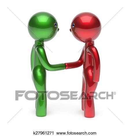 Handshake two men cartoon characters shaking hand icon Clip Art.