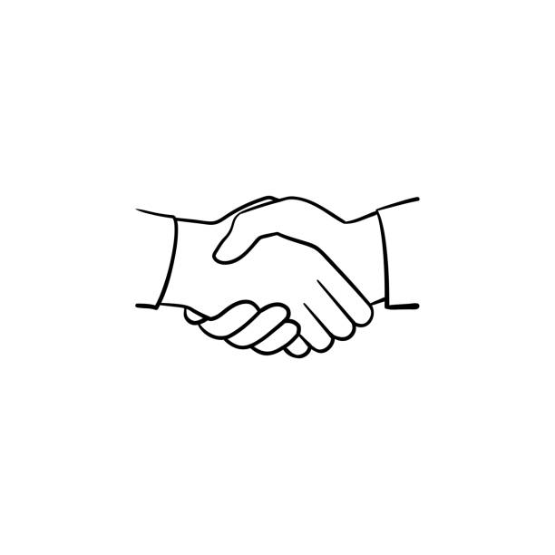 Best Two People Shaking Hands Drawing Illustrations, Royalty.