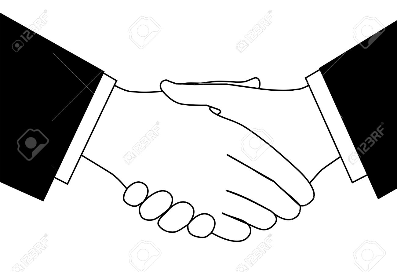 Handshake clipart sketch of business people shaking hands to...