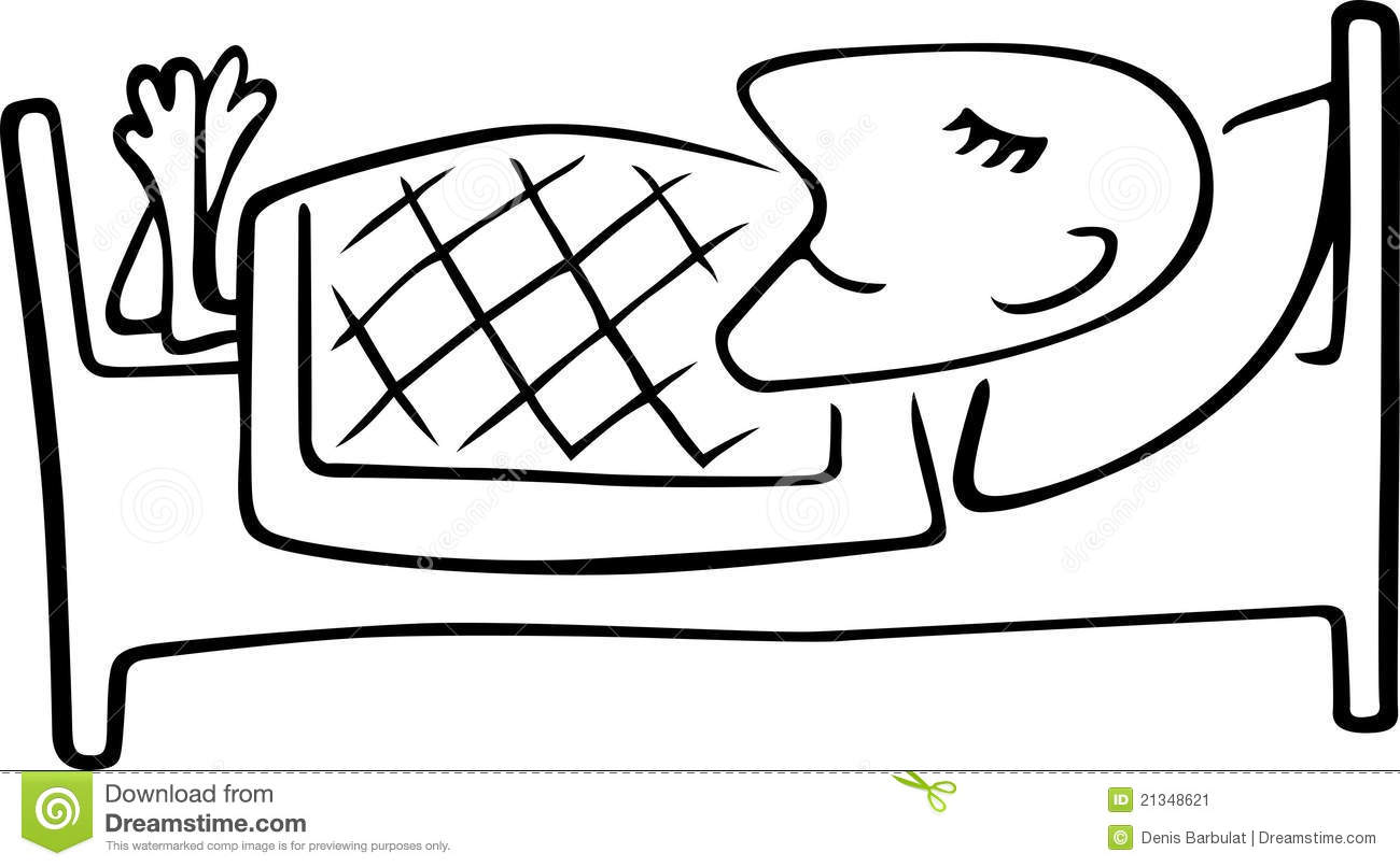Man Sleeping In The Bed stock vector. Illustration of clip.
