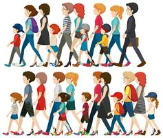 People Walking Free Vector Art.