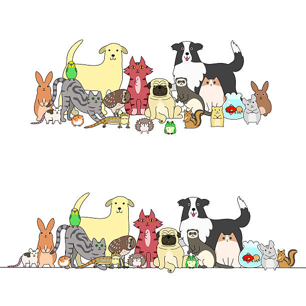 Top 60 Group Of Pets Clip Art, Vector Graphics and Illustrations.