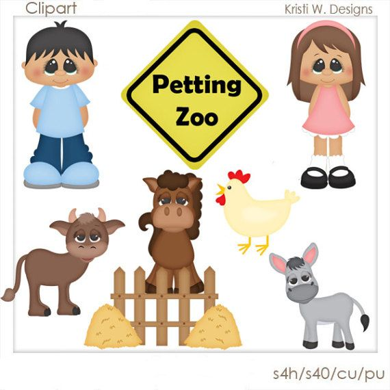 DIGITAL SCRAPBOOKING CLIPART Petting Zoo by BoxerScraps on Etsy.