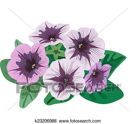 Petunia flowers bush Clip Art.