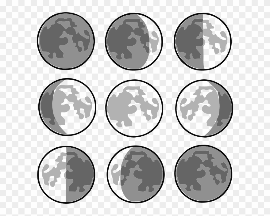8 Phases Of The Moon Clipart (#726034).