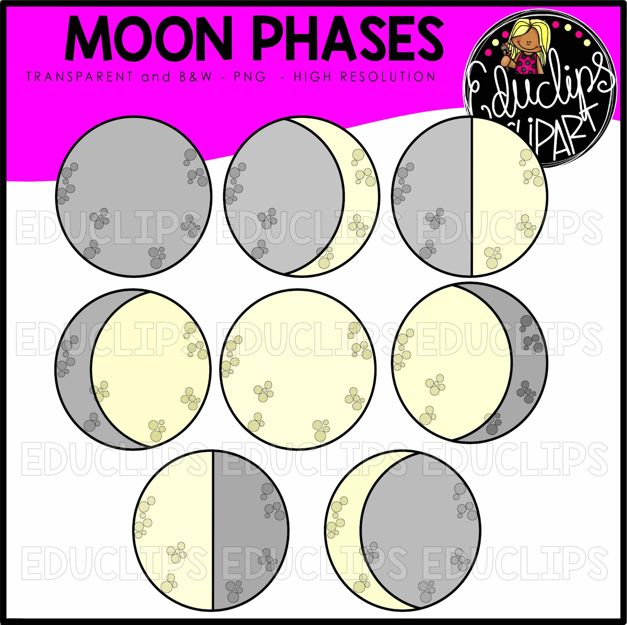 Moon Phases Clip Art Bundle (Color and B&W).